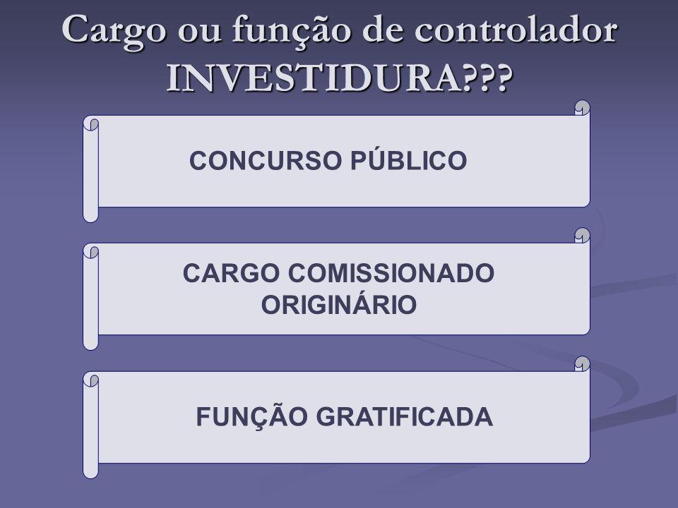Cargo ou função de controlador INVESTIDURA??? CONCURSO PÚBLICO CARGO COMISSIONADO ORIGINÁRIO FUNÇÃO GRATIFICADA