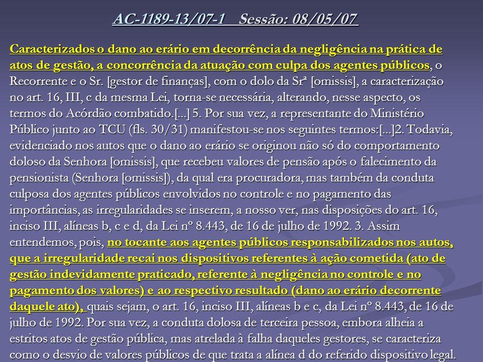 AC-1189-13/07-1AC-1189-13/07-1 Sessão: 08/05/07 AC-1189-13/07-1 Sessão: 08/05/07 AC-1189-13/07-1 Caracterizados o dano ao erário em decorrência da neg