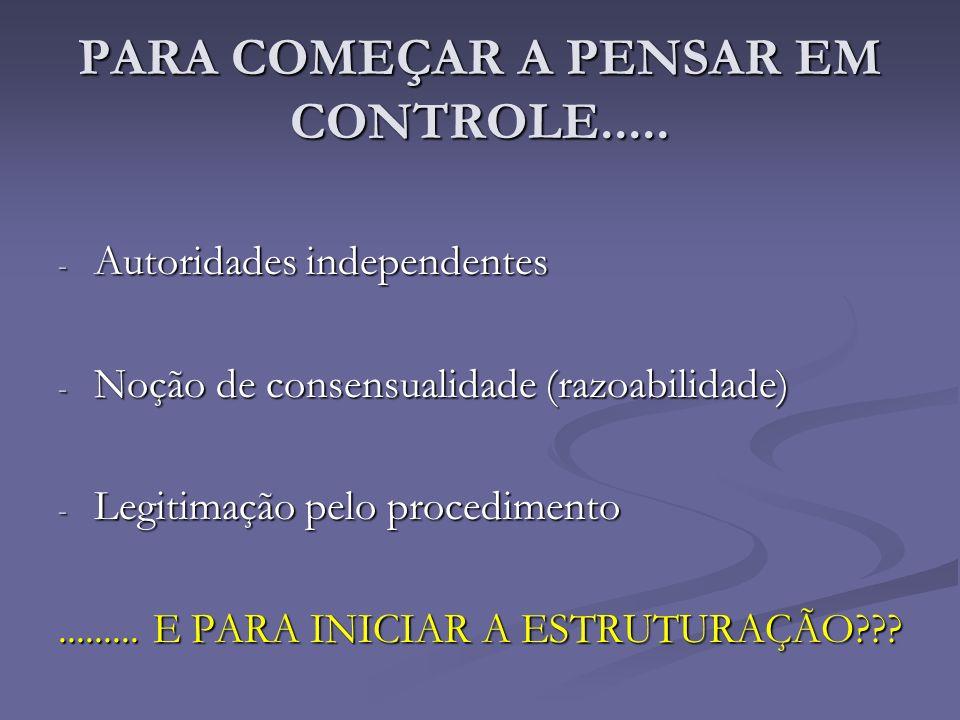 PARA COMEÇAR A PENSAR EM CONTROLE..... - Autoridades independentes - Noção de consensualidade (razoabilidade) - Legitimação pelo procedimento.........
