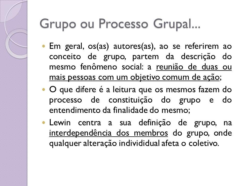 Grupo ou Processo Grupal... Em geral, os(as) autores(as), ao se referirem ao conceito de grupo, partem da descrição do mesmo fenômeno social: a reuniã