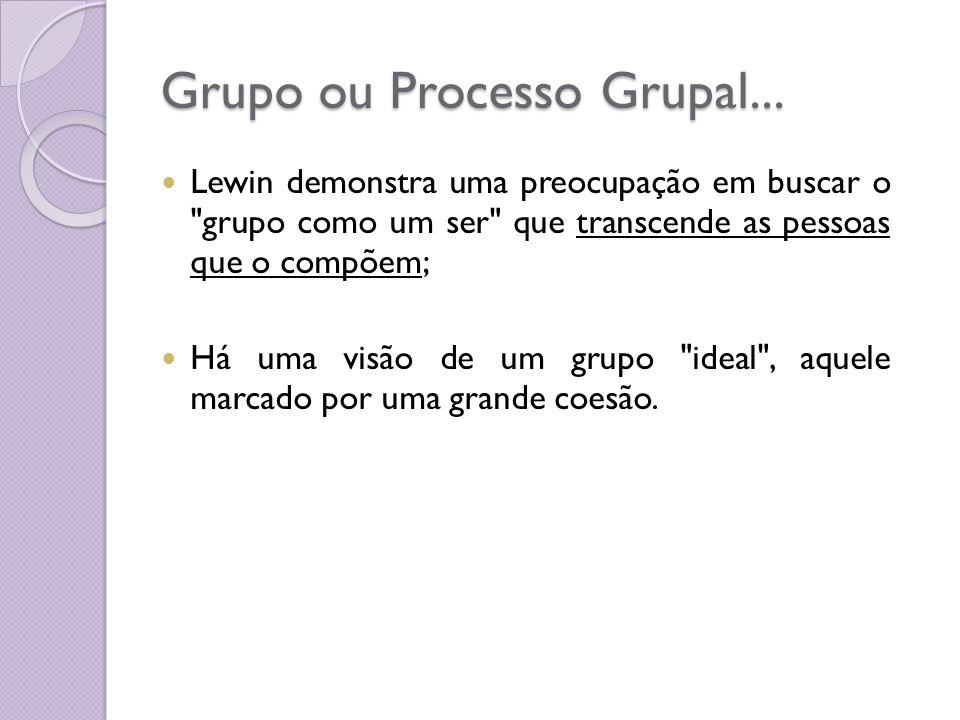 Grupo ou Processo Grupal... Lewin demonstra uma preocupação em buscar o