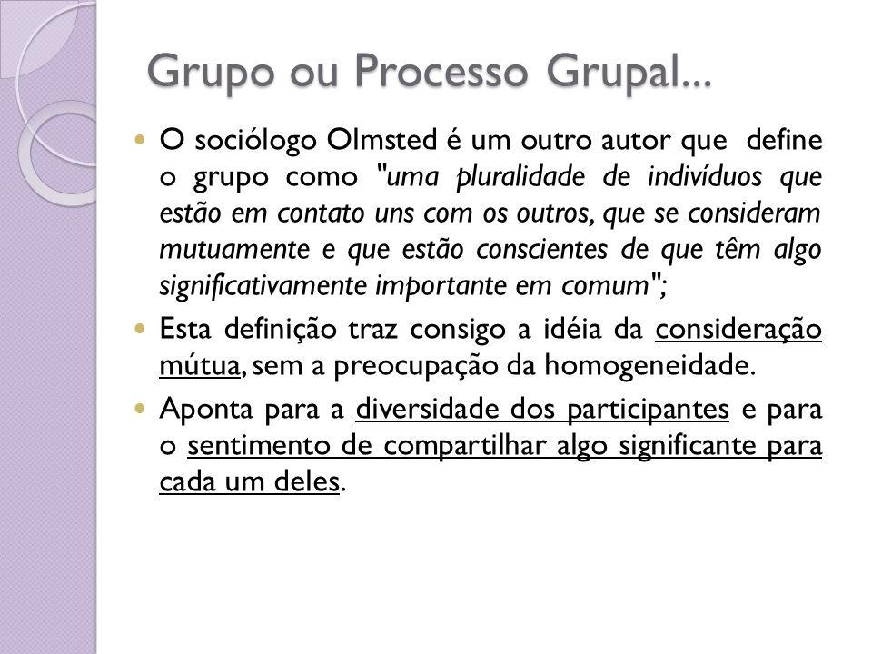 Grupo ou Processo Grupal... O sociólogo Olmsted é um outro autor que define o grupo como