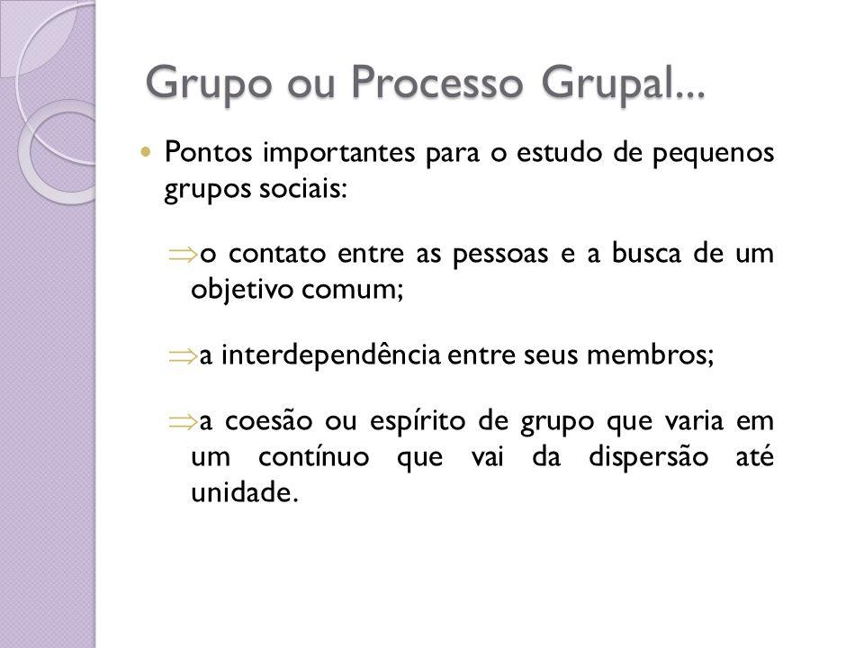 Grupo ou Processo Grupal... Pontos importantes para o estudo de pequenos grupos sociais: o contato entre as pessoas e a busca de um objetivo comum; a