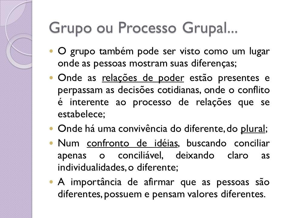 Grupo ou Processo Grupal... O grupo também pode ser visto como um lugar onde as pessoas mostram suas diferenças; Onde as relações de poder estão prese