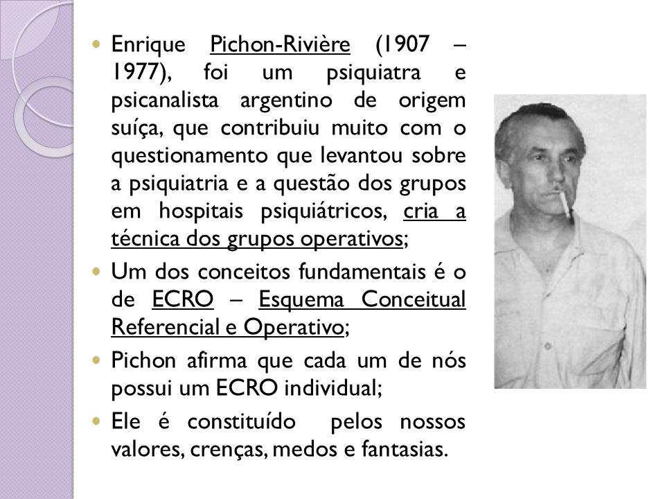 Enrique Pichon-Rivière (1907 – 1977), foi um psiquiatra e psicanalista argentino de origem suíça, que contribuiu muito com o questionamento que levant