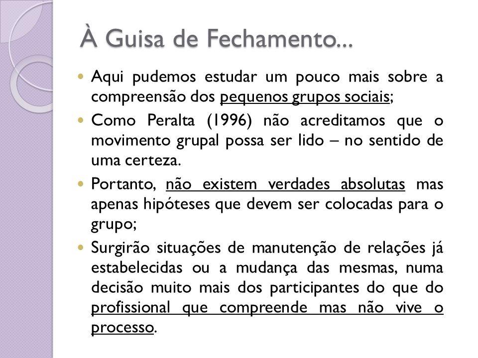 À Guisa de Fechamento... Aqui pudemos estudar um pouco mais sobre a compreensão dos pequenos grupos sociais; Como Peralta (1996) não acreditamos que o
