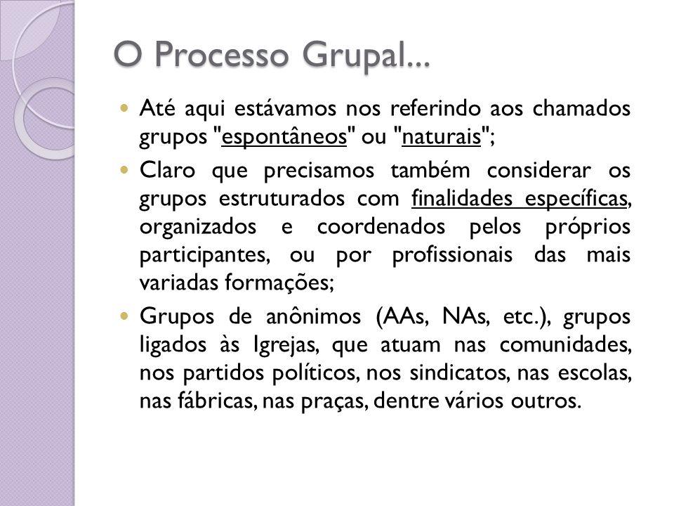 O Processo Grupal... Até aqui estávamos nos referindo aos chamados grupos