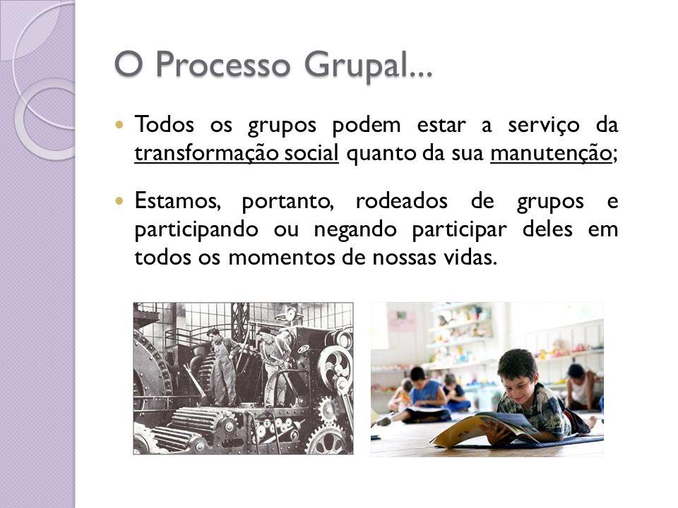 O Processo Grupal... Todos os grupos podem estar a serviço da transformação social quanto da sua manutenção; Estamos, portanto, rodeados de grupos e p