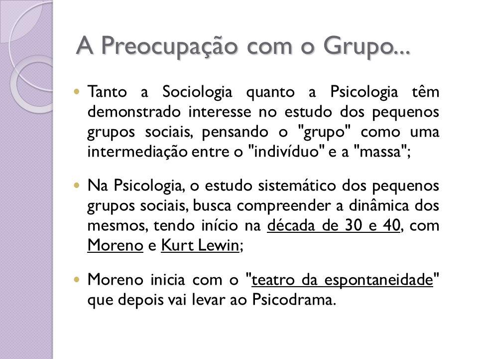 A Preocupação com o Grupo... Tanto a Sociologia quanto a Psicologia têm demonstrado interesse no estudo dos pequenos grupos sociais, pensando o