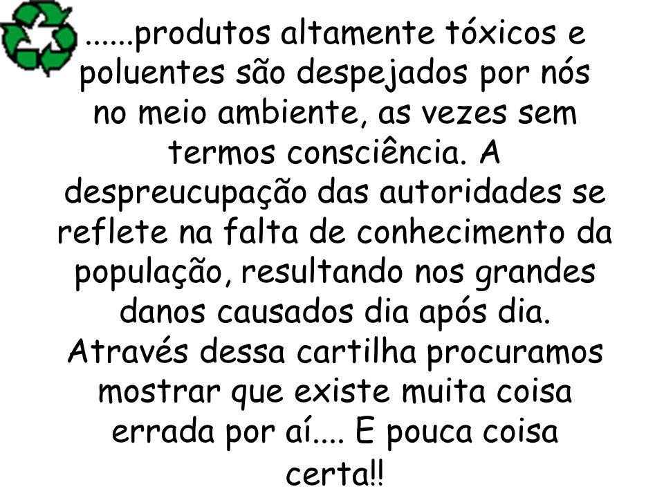 ......produtos altamente tóxicos e poluentes são despejados por nós no meio ambiente, as vezes sem termos consciência. A despreucupação das autoridade