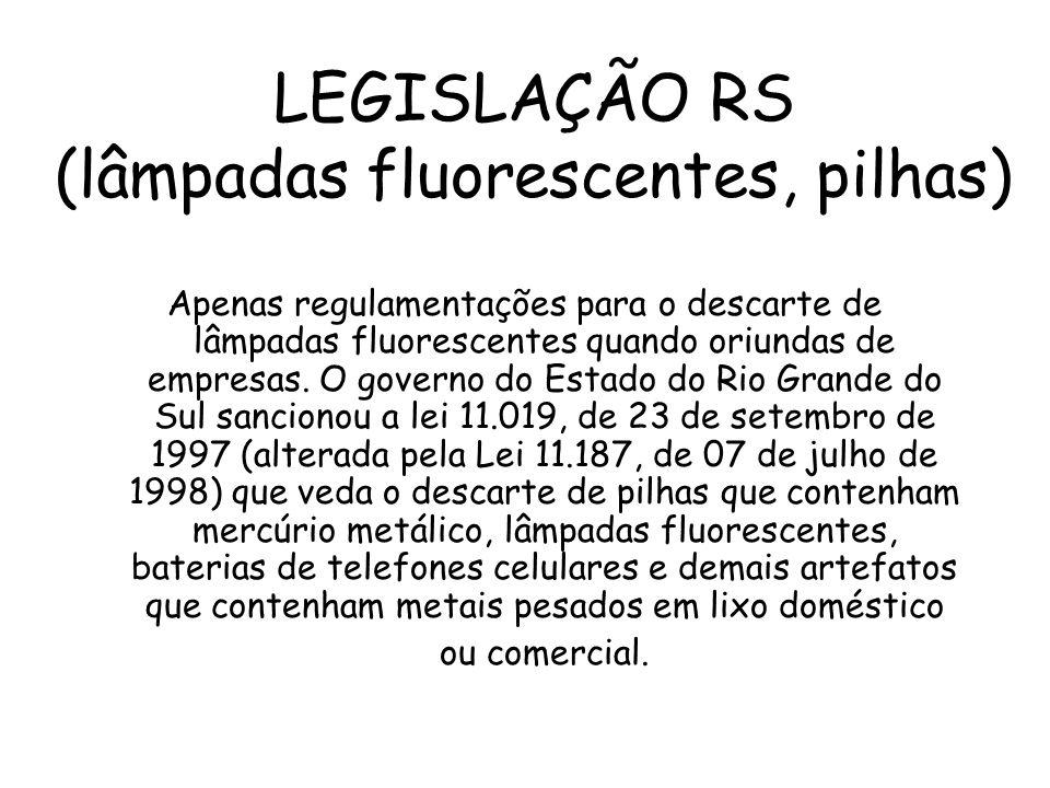 LEGISLAÇÃO RS (lâmpadas fluorescentes, pilhas) Apenas regulamentações para o descarte de lâmpadas fluorescentes quando oriundas de empresas. O governo