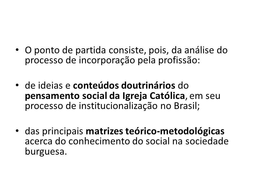 O ponto de partida consiste, pois, da análise do processo de incorporação pela profissão: de ideias e conteúdos doutrinários do pensamento social da I
