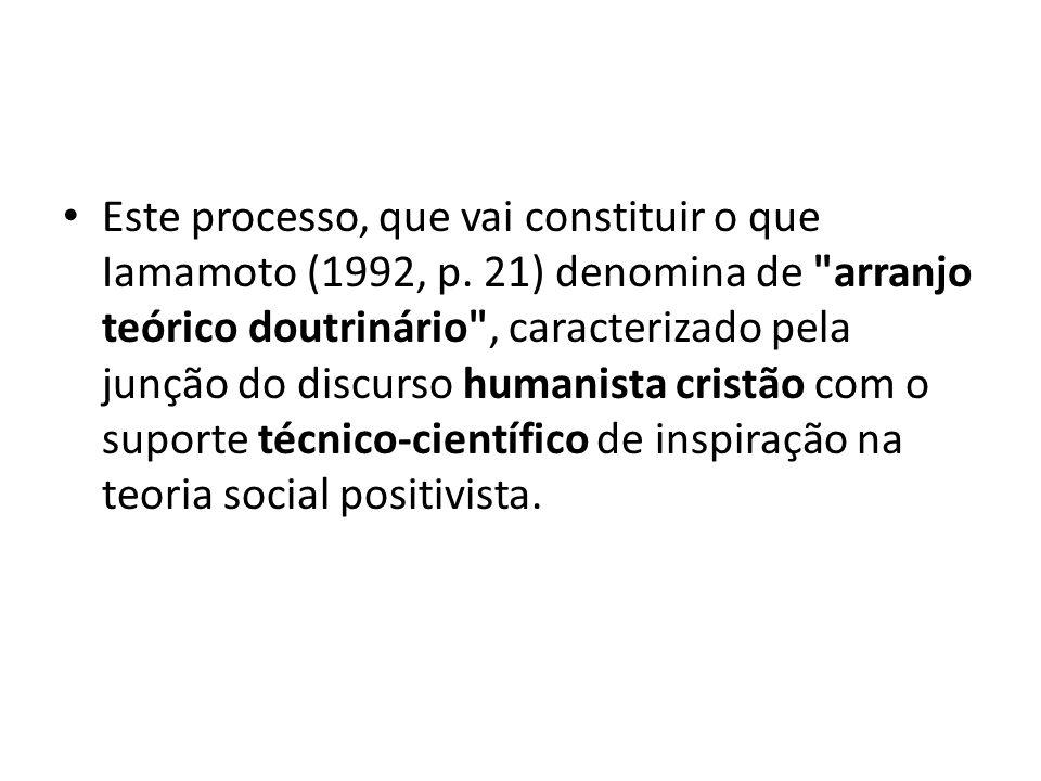 Este processo, que vai constituir o que Iamamoto (1992, p. 21) denomina de