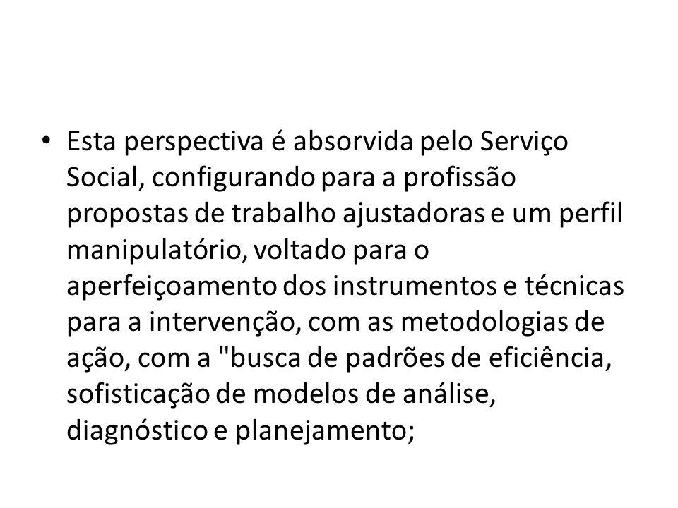 Esta perspectiva é absorvida pelo Serviço Social, configurando para a profissão propostas de trabalho ajustadoras e um perfil manipulatório, voltado p