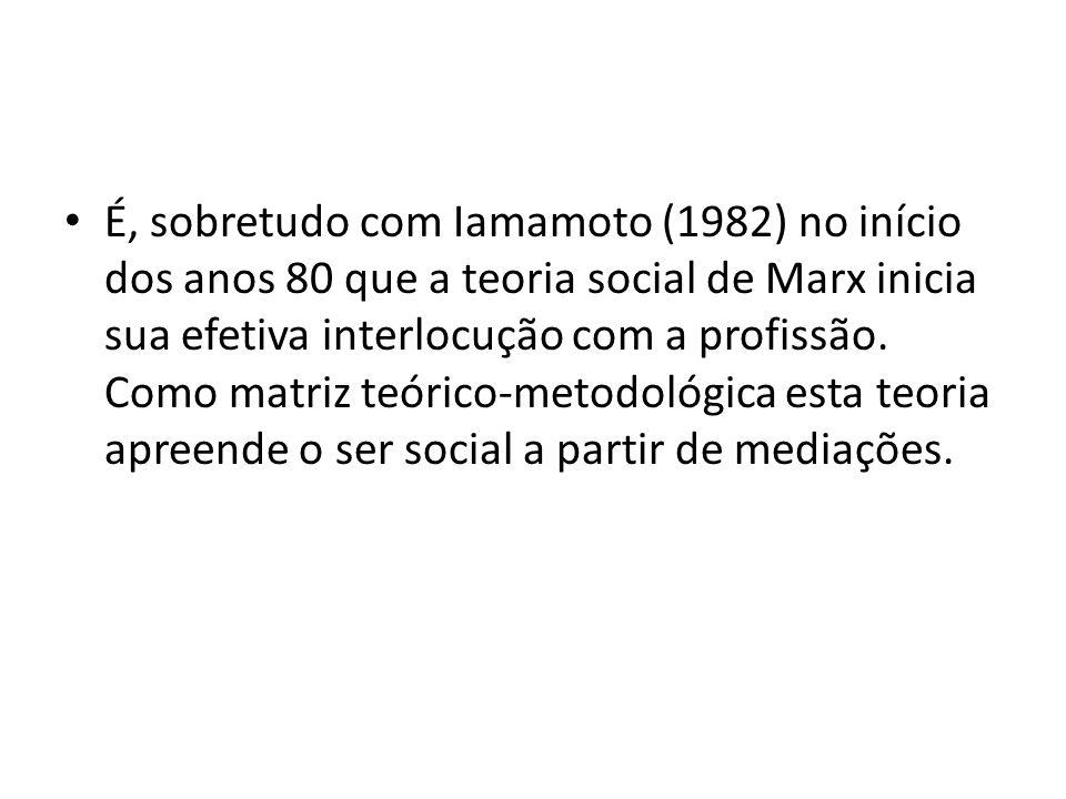 É, sobretudo com Iamamoto (1982) no início dos anos 80 que a teoria social de Marx inicia sua efetiva interlocução com a profissão. Como matriz teóric