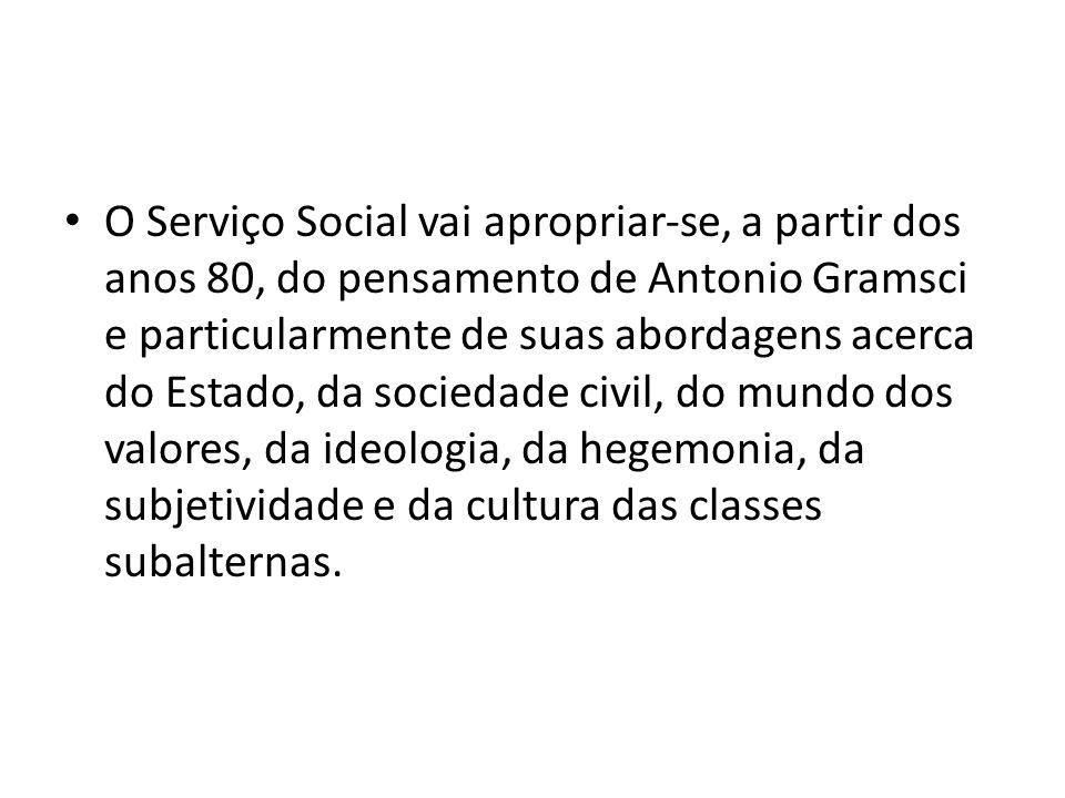 O Serviço Social vai apropriarse, a partir dos anos 80, do pensamento de Antonio Gramsci e particularmente de suas abordagens acerca do Estado, da soc