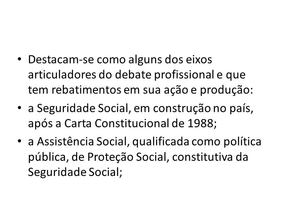 Destacamse como alguns dos eixos articuladores do debate profissional e que tem rebatimentos em sua ação e produção: a Seguridade Social, em construçã