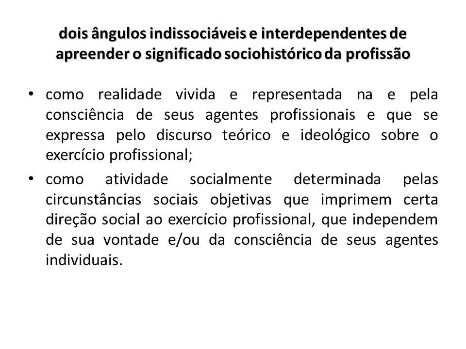 dois ângulos indissociáveis e interdependentes de apreender o significado sociohistórico da profissão como realidade vivida e representada na e pela c