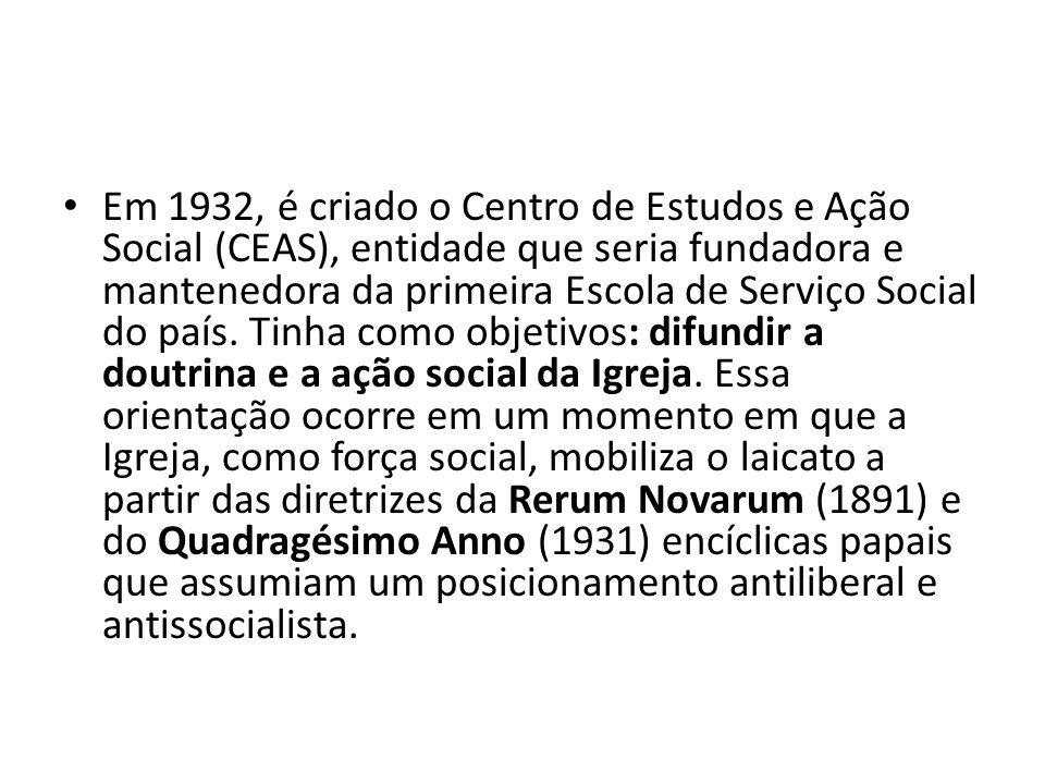 Em 1932, é criado o Centro de Estudos e Ação Social (CEAS), entidade que seria fundadora e mantenedora da primeira Escola de Serviço Social do país. T