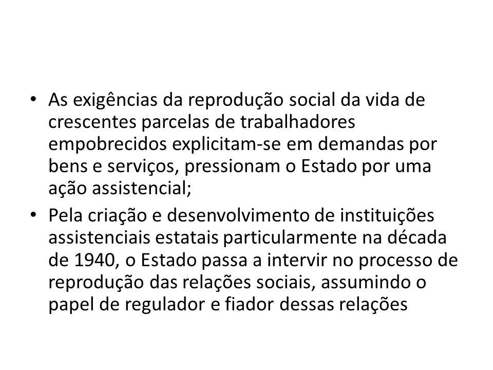 As exigências da reprodução social da vida de crescentes parcelas de trabalhadores empobrecidos explicitam-se em demandas por bens e serviços, pressio