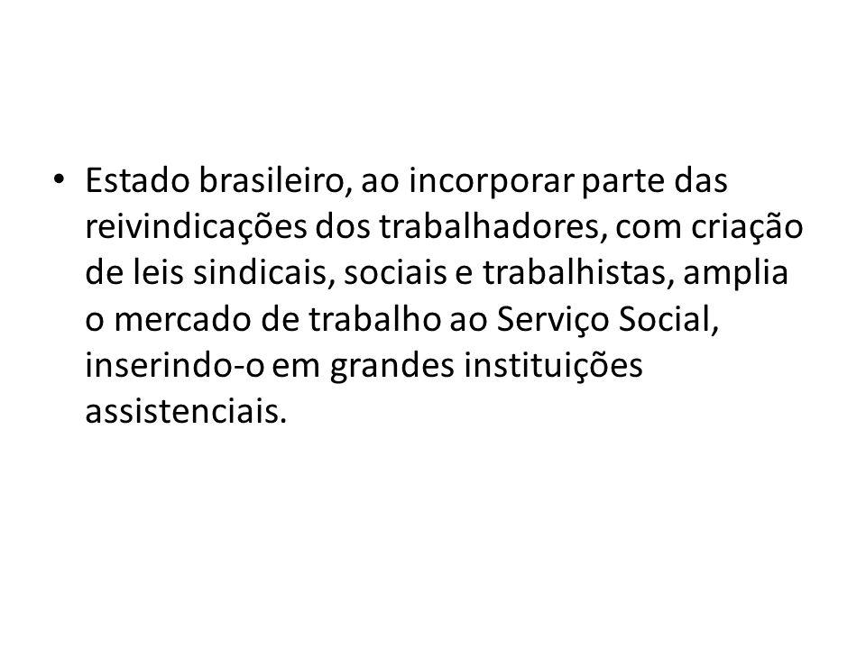 Estado brasileiro, ao incorporar parte das reivindicações dos trabalhadores, com criação de leis sindicais, sociais e trabalhistas, amplia o mercado d