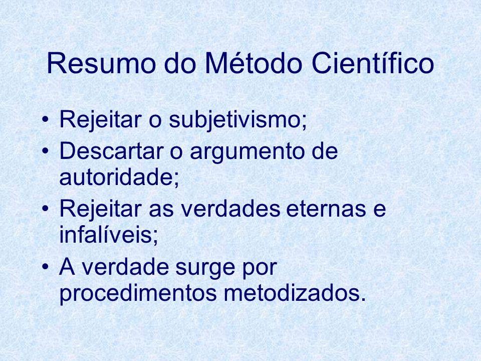 Resumo do Método Científico Rejeitar o subjetivismo; Descartar o argumento de autoridade; Rejeitar as verdades eternas e infalíveis; A verdade surge p