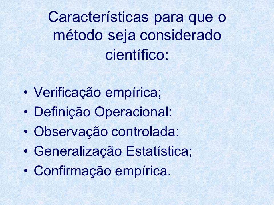 Características para que o método seja considerado científico : Verificação empírica; Definição Operacional: Observação controlada: Generalização Esta