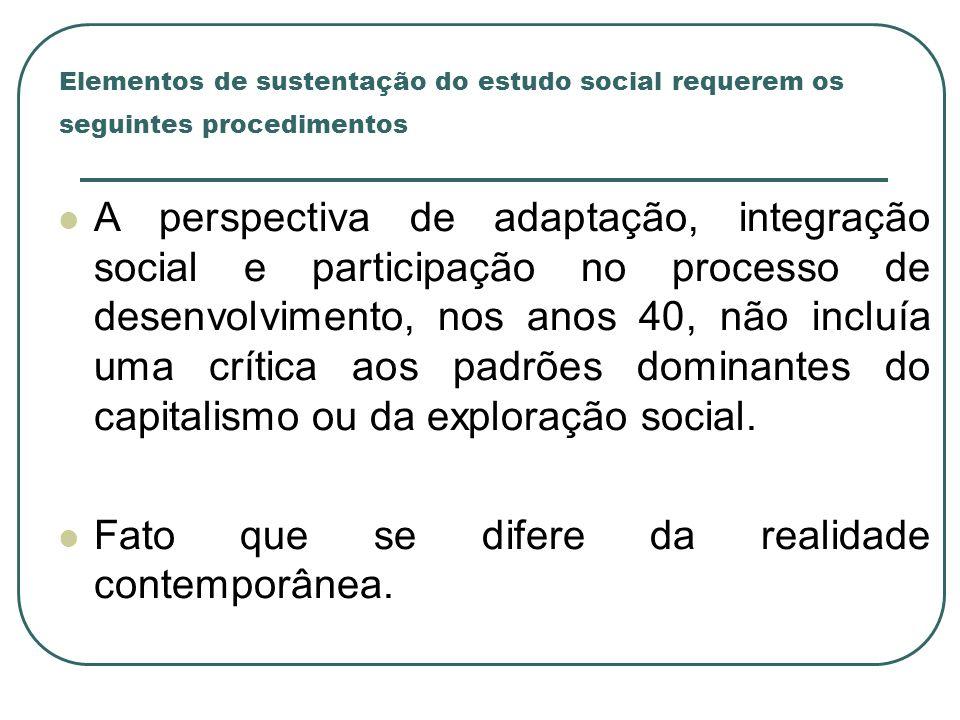 Elementos de sustentação do estudo social requerem os seguintes procedimentos A perspectiva de adaptação, integração social e participação no processo
