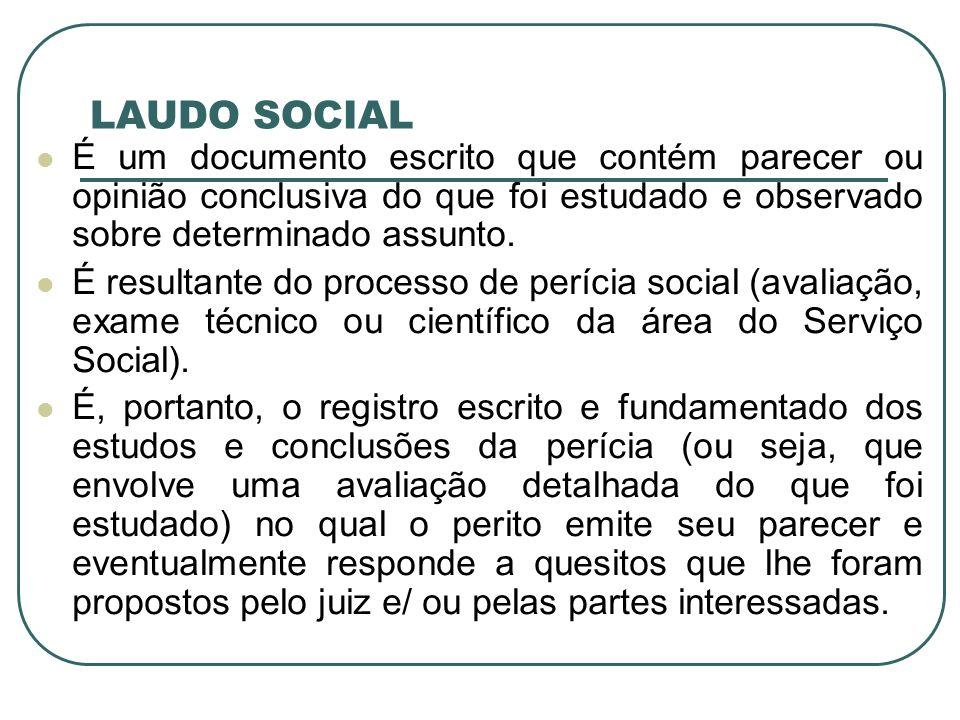 LAUDO SOCIAL É um documento escrito que contém parecer ou opinião conclusiva do que foi estudado e observado sobre determinado assunto. É resultante d