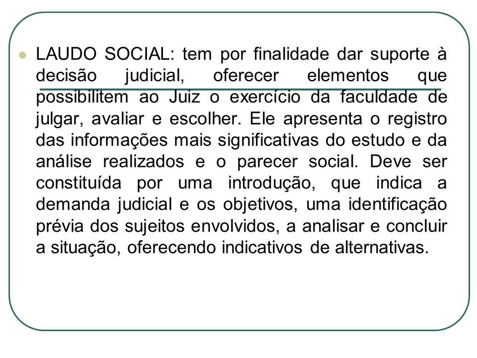 LAUDO SOCIAL: tem por finalidade dar suporte à decisão judicial, oferecer elementos que possibilitem ao Juiz o exercício da faculdade de julgar, avali