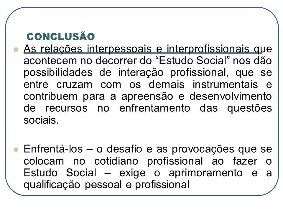 CONCLUSÃO As relações interpessoais e interprofissionais que acontecem no decorrer do Estudo Social nos dão possibilidades de interação profissional,