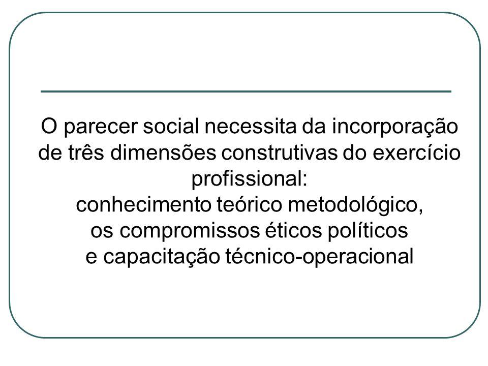 O parecer social necessita da incorporação de três dimensões construtivas do exercício profissional: conhecimento teórico metodológico, os compromisso