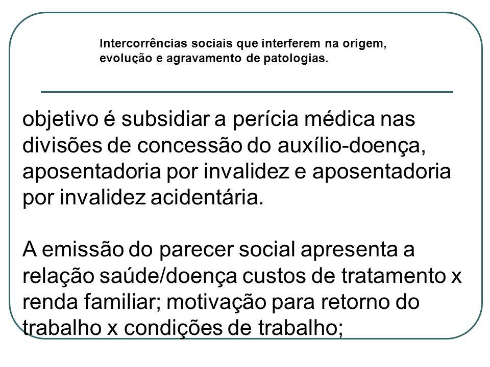 Intercorrências sociais que interferem na origem, evolução e agravamento de patologias. objetivo é subsidiar a perícia médica nas divisões de concessã