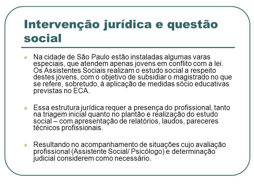 Intervenção jurídica e questão social Na cidade de São Paulo estão instaladas algumas varas especiais, que atendem apenas jovens em conflito com a lei