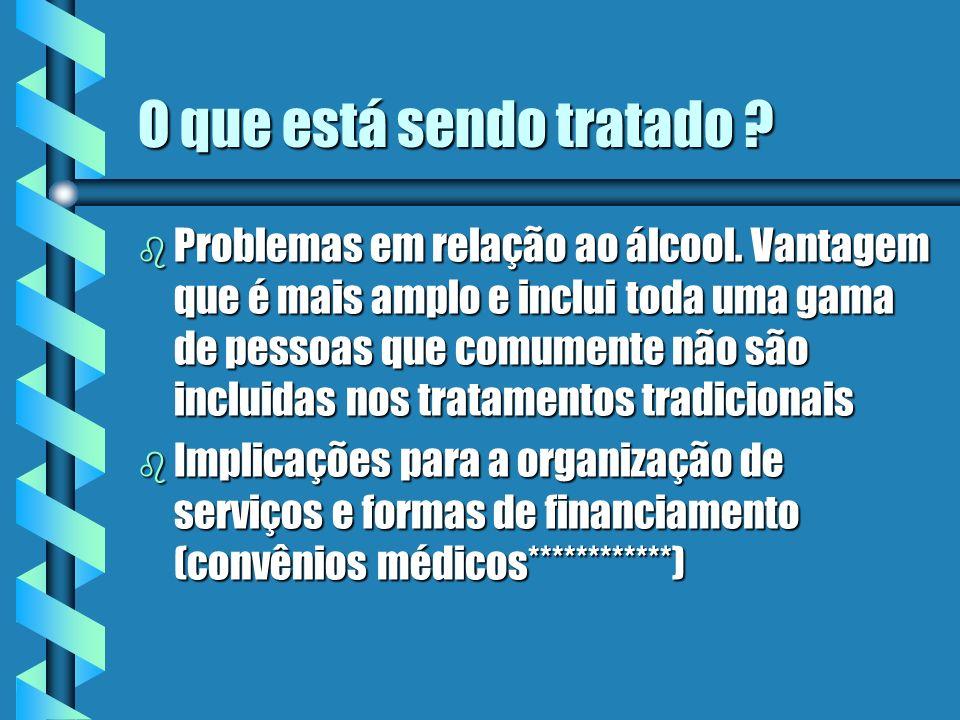 O que está sendo tratado . b Problemas em relação ao álcool.