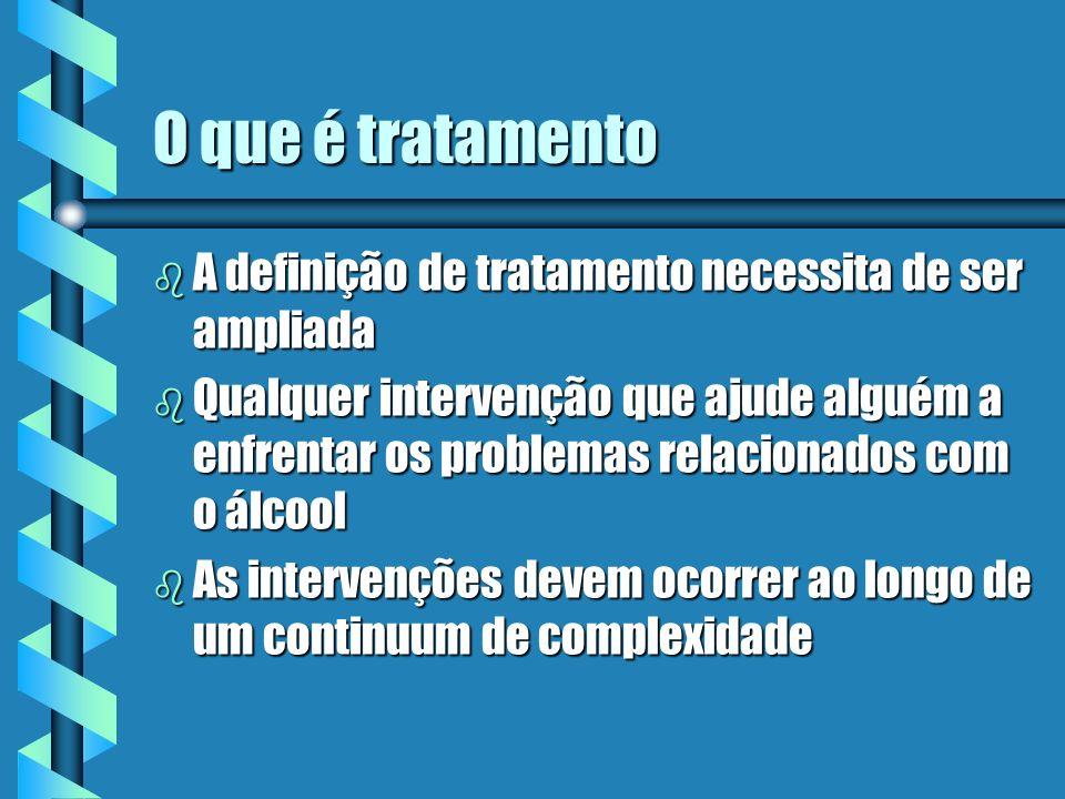 O que é tratamento b A definição de tratamento necessita de ser ampliada b Qualquer intervenção que ajude alguém a enfrentar os problemas relacionados com o álcool b As intervenções devem ocorrer ao longo de um continuum de complexidade