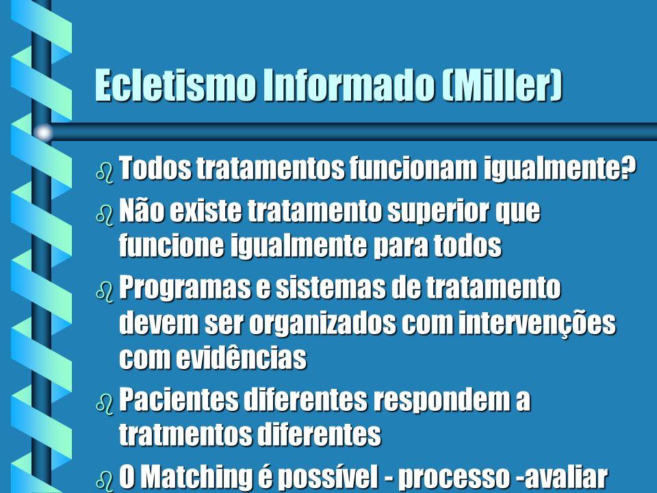 Ecletismo Informado (Miller) b Todos tratamentos funcionam igualmente.