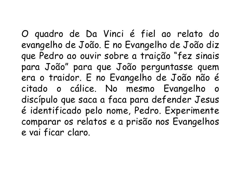 O quadro de Da Vinci é fiel ao relato do evangelho de João. E no Evangelho de João diz que Pedro ao ouvir sobre a traição fez sinais para João para qu