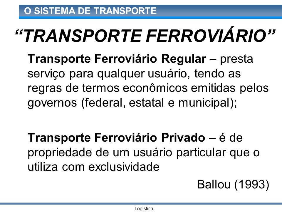 Logística O SISTEMA DE TRANSPORTE TRANSPORTE FERROVIÁRIO Transporte Ferroviário Regular – presta serviço para qualquer usuário, tendo as regras de ter