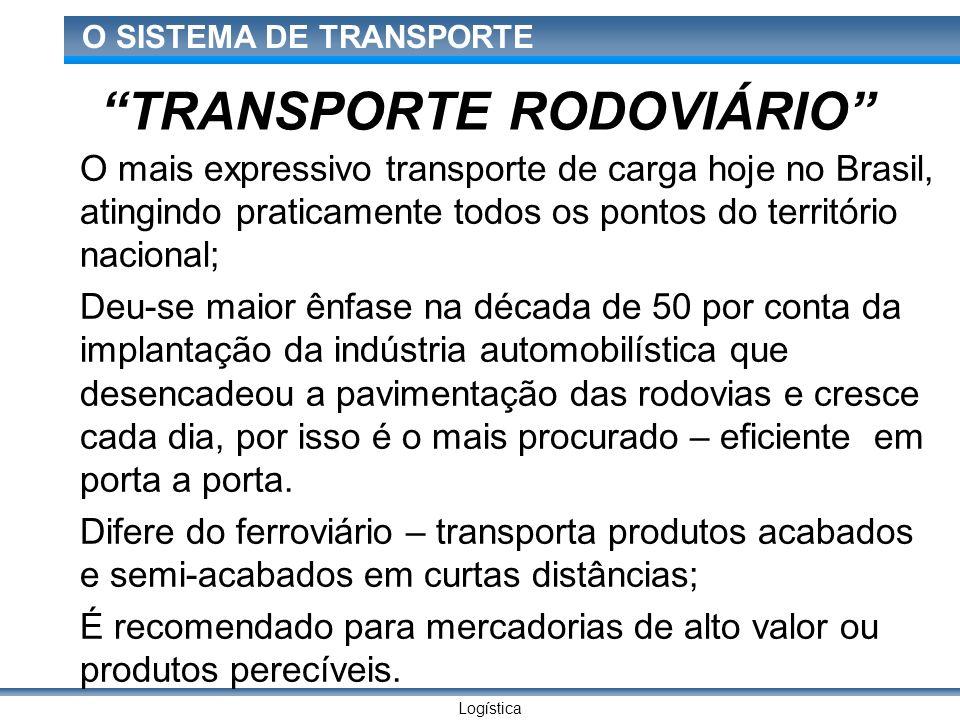 Logística O SISTEMA DE TRANSPORTE TRANSPORTE RODOVIÁRIO O mais expressivo transporte de carga hoje no Brasil, atingindo praticamente todos os pontos d