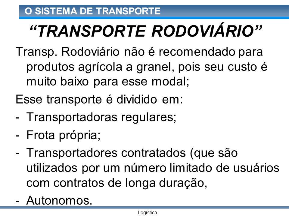 Logística O SISTEMA DE TRANSPORTE TRANSPORTE RODOVIÁRIO Transp. Rodoviário não é recomendado para produtos agrícola a granel, pois seu custo é muito b