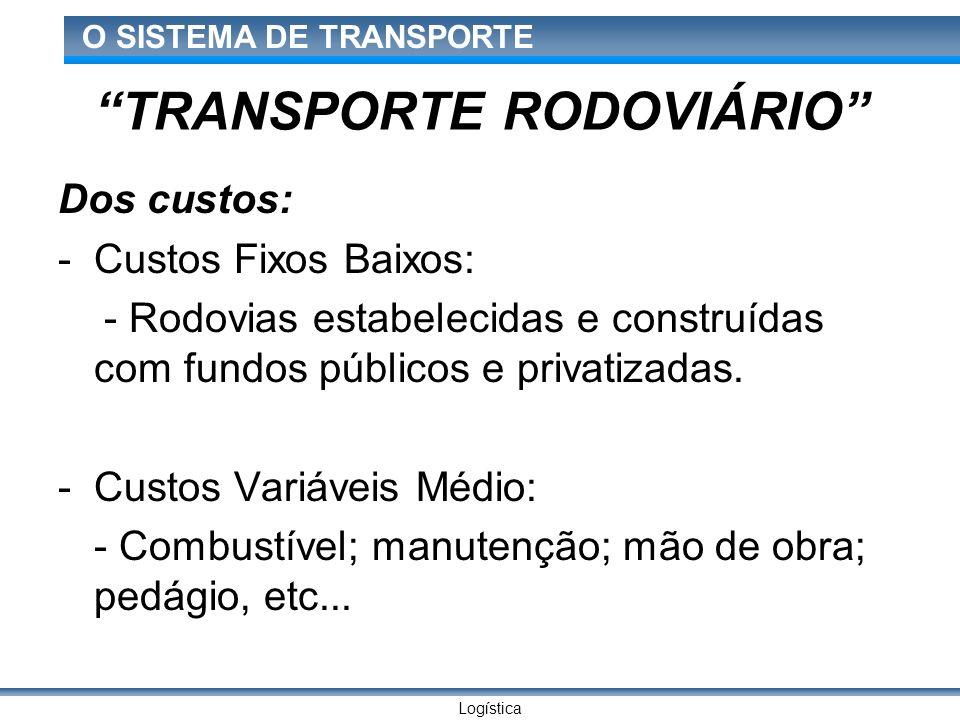 Logística O SISTEMA DE TRANSPORTE TRANSPORTE RODOVIÁRIO Dos custos: -Custos Fixos Baixos: - Rodovias estabelecidas e construídas com fundos públicos e