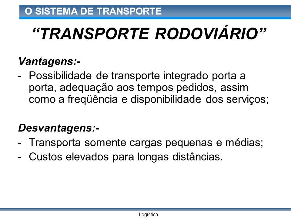 Logística O SISTEMA DE TRANSPORTE TRANSPORTE RODOVIÁRIO Vantagens:- -Possibilidade de transporte integrado porta a porta, adequação aos tempos pedidos