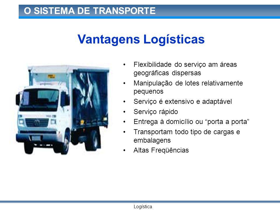 Logística O SISTEMA DE TRANSPORTE Vantagens Logísticas Flexibilidade do serviço am áreas geográficas dispersas Manipulação de lotes relativamente pequ