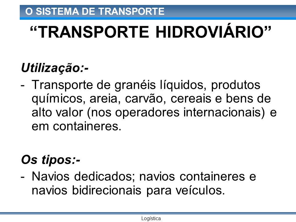 Logística O SISTEMA DE TRANSPORTE TRANSPORTE HIDROVIÁRIO Utilização:- -Transporte de granéis líquidos, produtos químicos, areia, carvão, cereais e ben