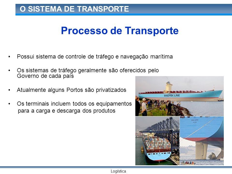 Logística O SISTEMA DE TRANSPORTE Processo de Transporte Possui sistema de controle de tráfego e navegação marítima Os sistemas de tráfego geralmente