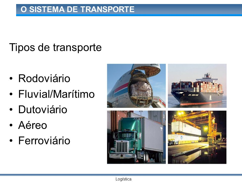 Logística O SISTEMA DE TRANSPORTE Tipos de transporte Rodoviário Fluvial/Marítimo Dutoviário Aéreo Ferroviário