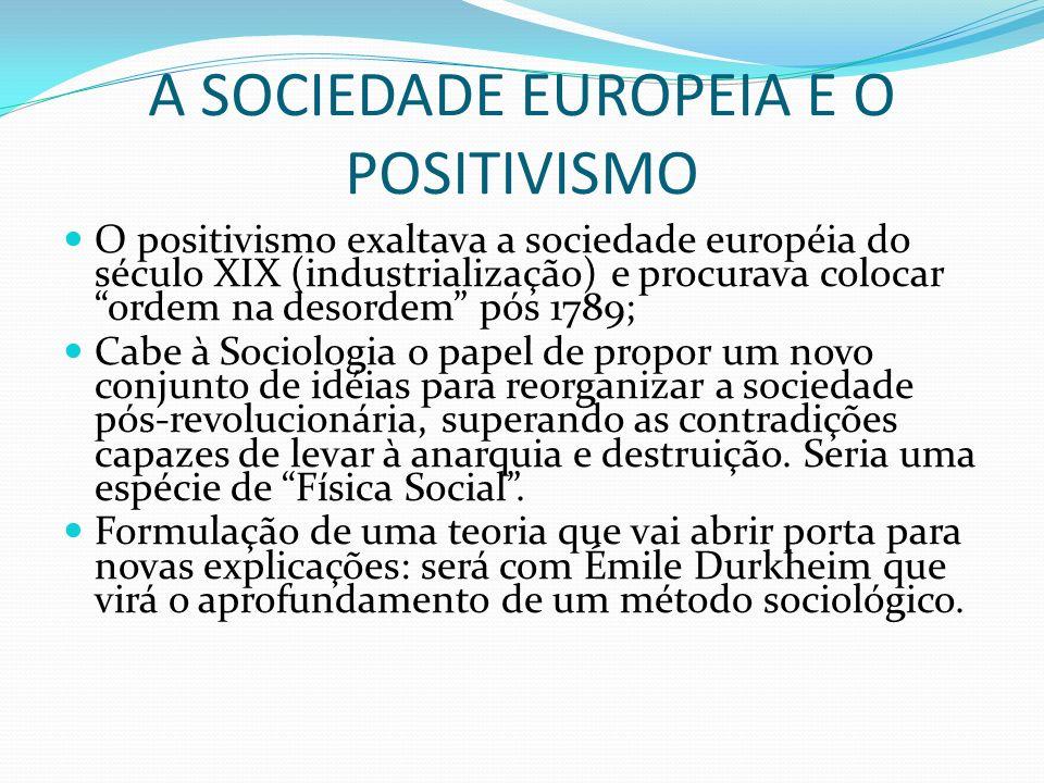 A SOCIEDADE EUROPEIA E O POSITIVISMO O positivismo exaltava a sociedade européia do século XIX (industrialização) e procurava colocar ordem na desorde
