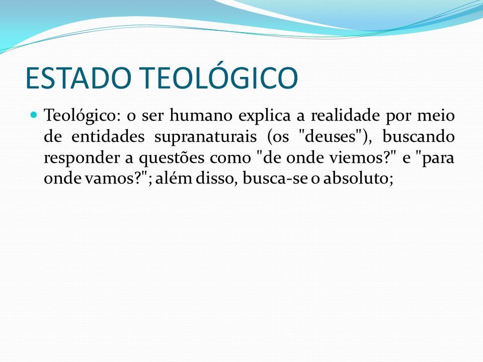 ESTADO TEOLÓGICO Teológico: o ser humano explica a realidade por meio de entidades supranaturais (os