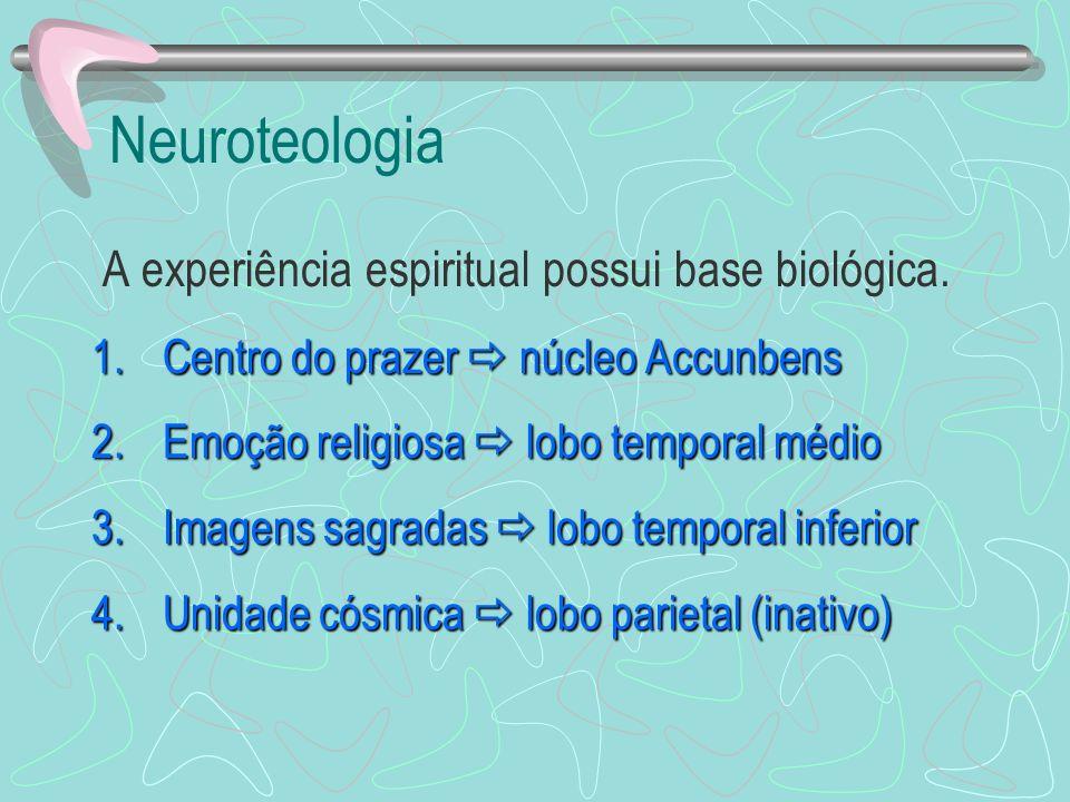 Neuroteologia A experiência espiritual possui base biológica. 1.Centro do prazer núcleo Accunbens 2.Emoção religiosa lobo temporal médio 3.Imagens sag